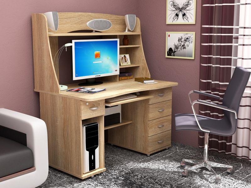Прямой компьютерный стол в офисах